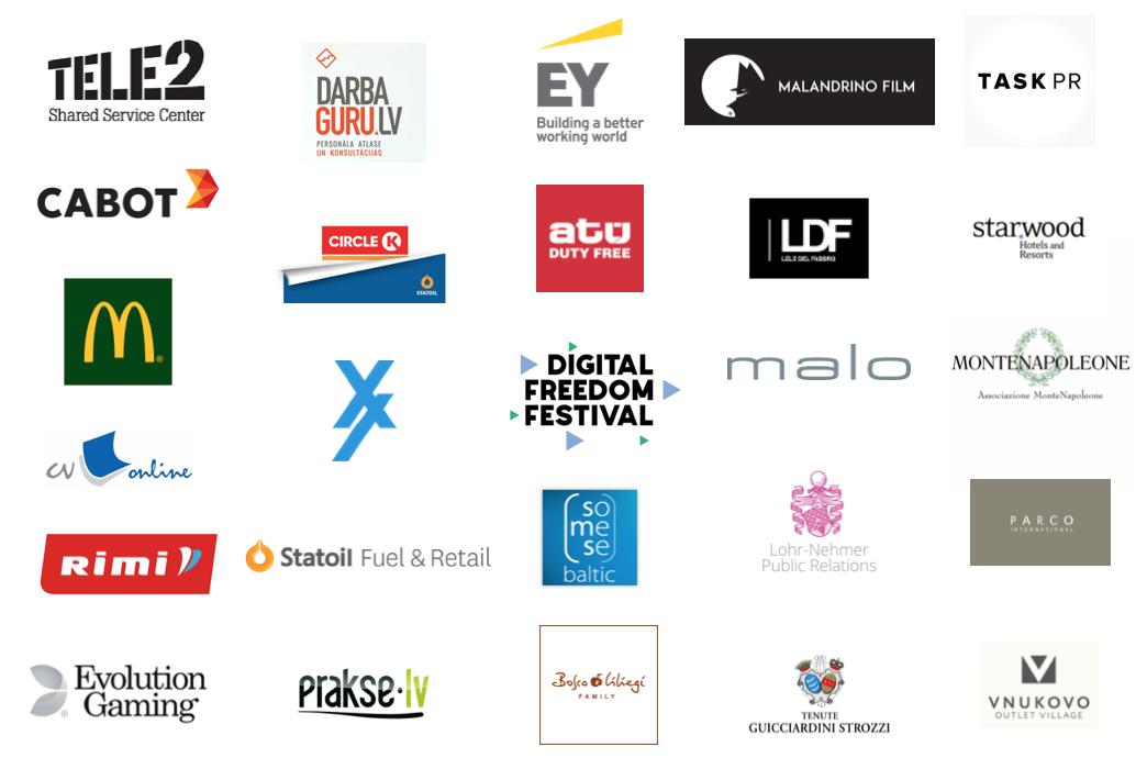 Tele2, Cabot, McDonalds, CV-Online, Rimi, Evolution Gaming, Darba Guru, Circle-K, Statoil, Digital Freedom Festival, Task PR, Vnukovo, Starwood